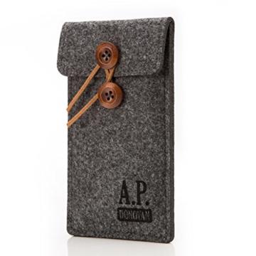 A.P. Donovan - Filz-Tasche Filzhülle - Schutzhülle - Handy-Socke aus Filz - Hülle Tasche aus Stoff Sleeve - Grau iPhone X/XS - 1