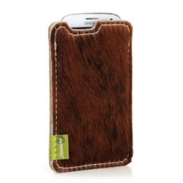 """Almwild® Hülle Tasche für iPhone 8, 7, 6,6s aus echtem Kuhfell. Modell """"Muuhh"""". Fell in Uni-Braun mit Rückenteil in Filz in Beige - Grau. Handyhülle in Bayern gefertigt - 1"""
