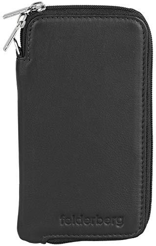 felderberg Handytasche aus feinstem Echt-Leder mit Reißverschluss und Handschlaufe, für die meisten 5 Zoll (max. 5,8 Zoll) Smartphones geeignet (Schwarz/Modell 2018) - 2