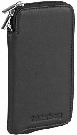 felderberg Handytasche aus feinstem Echt-Leder mit Reißverschluss und Handschlaufe, für die meisten 5 Zoll (max. 5,8 Zoll) Smartphones geeignet (Schwarz/Modell 2018) - 1