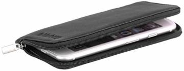 felderberg Handytasche aus feinstem Echt-Leder mit Reißverschluss und Handschlaufe, für die meisten 5 Zoll (max. 5,8 Zoll) Smartphones geeignet (Schwarz/Modell 2018) - 5