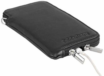 felderberg Handytasche aus feinstem Echt-Leder mit Reißverschluss und Handschlaufe, für die meisten 5 Zoll (max. 5,8 Zoll) Smartphones geeignet (Schwarz/Modell 2018) - 6