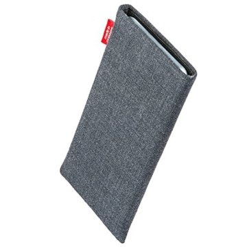 fitBAG Jive Grau Handytasche Tasche aus Textil-Stoff mit Microfaserinnenfutter für Apple iPhone 6 Plus / 6S Plus / 7 Plus (5,5 Zoll) | Hülle mit Reinigungsfunktion | Made in Germany - 2
