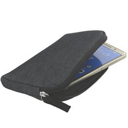 Handyhülle mit Handschlaufe 7.2 - universal Größe 2XL für Huawei P9 P10 P20 Lite Honor 9 10 / Motorola Moto G5 - Handytasche schwarz/grau - 1