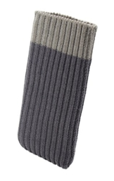 iPhone X Handysocke Strick-Tasche in grau Original smartec24® Rundumschutz dank dicker dicht gestrickter Wolle passt sich dank Strech perfekt dem jeweiligen Smartphone an - 1
