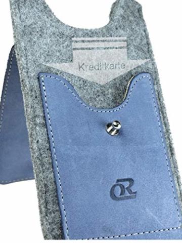 OrLine Handytasche für Honor 7C mit Silikon Case. Hülle mit Verschluß und EC-Kartenfach aus Echtleder. Blau-Grau Etui aus Leder und Filz. Die Schlüsselan echt Kuhfell - 3