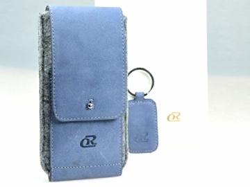 OrLine Handytasche für Honor 7C mit Silikon Case. Hülle mit Verschluß und EC-Kartenfach aus Echtleder. Blau-Grau Etui aus Leder und Filz. Die Schlüsselan echt Kuhfell - 4