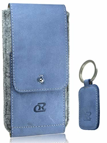 OrLine Handytasche für Honor 7C mit Silikon Case. Hülle mit Verschluß und EC-Kartenfach aus Echtleder. Blau-Grau Etui aus Leder und Filz. Die Schlüsselan echt Kuhfell - 1