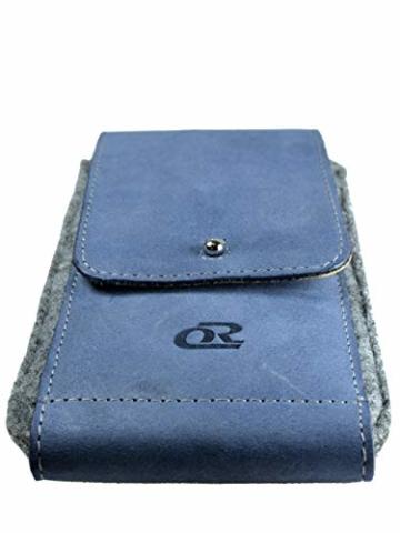 OrLine Handytasche für Honor 7C mit Silikon Case. Hülle mit Verschluß und EC-Kartenfach aus Echtleder. Blau-Grau Etui aus Leder und Filz. Die Schlüsselan echt Kuhfell - 5