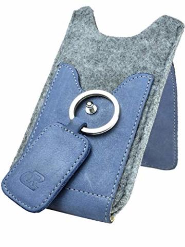 OrLine Handytasche für Honor 7C mit Silikon Case. Hülle mit Verschluß und EC-Kartenfach aus Echtleder. Blau-Grau Etui aus Leder und Filz. Die Schlüsselan echt Kuhfell - 6