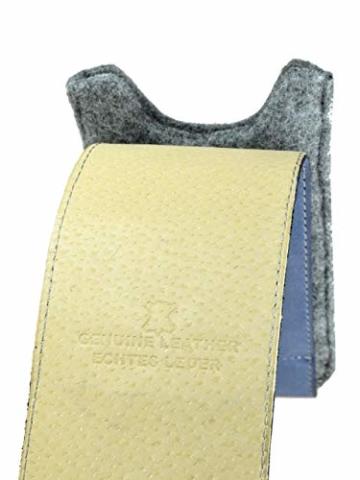 OrLine Handytasche für Honor 7C mit Silikon Case. Hülle mit Verschluß und EC-Kartenfach aus Echtleder. Blau-Grau Etui aus Leder und Filz. Die Schlüsselan echt Kuhfell - 7
