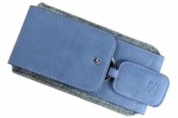 OrLine Handytasche für Honor 7C mit Silikon Case. Hülle mit Verschluß und EC-Kartenfach aus Echtleder. Blau-Grau Etui aus Leder und Filz. Die Schlüsselan echt Kuhfell - 9