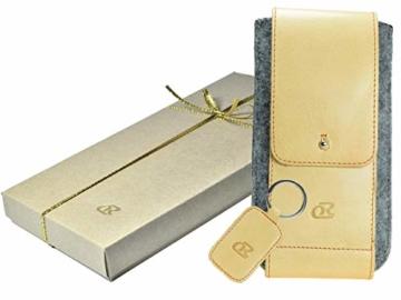 OrLine Handytasche für LG K10 LTE mit Silikon Case. Hülle mit Verschluß und EC-Kartenfach aus Echtleder. Beige-Grau Etui aus Leder und Filz. Die Schlüsselan echt Kuhfell - 2