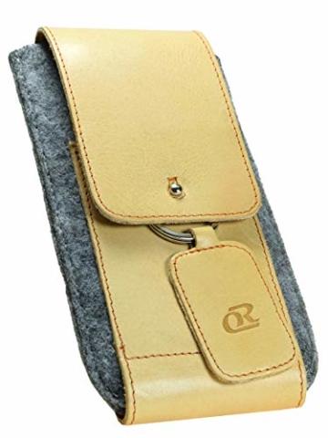 OrLine Handytasche für LG K10 LTE mit Silikon Case. Hülle mit Verschluß und EC-Kartenfach aus Echtleder. Beige-Grau Etui aus Leder und Filz. Die Schlüsselan echt Kuhfell - 3