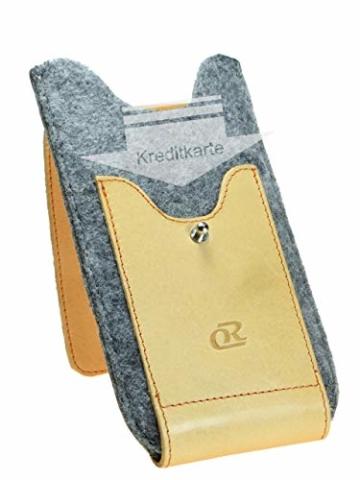 OrLine Handytasche für LG K10 LTE mit Silikon Case. Hülle mit Verschluß und EC-Kartenfach aus Echtleder. Beige-Grau Etui aus Leder und Filz. Die Schlüsselan echt Kuhfell - 4