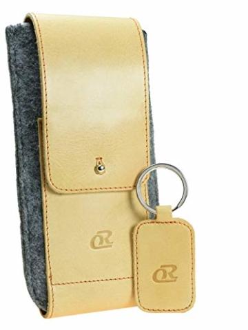 OrLine Handytasche für LG K10 LTE mit Silikon Case. Hülle mit Verschluß und EC-Kartenfach aus Echtleder. Beige-Grau Etui aus Leder und Filz. Die Schlüsselan echt Kuhfell - 5