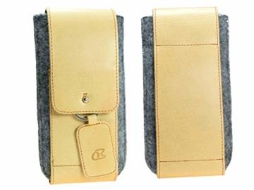 OrLine Handytasche für LG K10 LTE mit Silikon Case. Hülle mit Verschluß und EC-Kartenfach aus Echtleder. Beige-Grau Etui aus Leder und Filz. Die Schlüsselan echt Kuhfell - 6