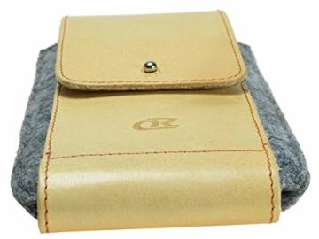 OrLine Handytasche für LG K10 LTE mit Silikon Case. Hülle mit Verschluß und EC-Kartenfach aus Echtleder. Beige-Grau Etui aus Leder und Filz. Die Schlüsselan echt Kuhfell - 7
