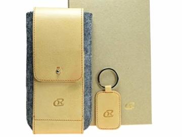 OrLine Handytasche für LG K10 LTE mit Silikon Case. Hülle mit Verschluß und EC-Kartenfach aus Echtleder. Beige-Grau Etui aus Leder und Filz. Die Schlüsselan echt Kuhfell - 8
