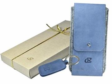 OrLine Handytasche für Xiaomi Poco F1 mit Silikon Case. Hülle mit Verschluß und EC-Kartenfach aus Echtleder. Blau-Grau Etui aus Leder und Filz. Die Schlüsselan echt Kuhfell - 2
