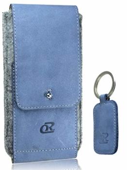 OrLine Handytasche für Xiaomi Poco F1 mit Silikon Case. Hülle mit Verschluß und EC-Kartenfach aus Echtleder. Blau-Grau Etui aus Leder und Filz. Die Schlüsselan echt Kuhfell - 1