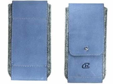 OrLine Handytasche für Xiaomi Poco F1 mit Silikon Case. Hülle mit Verschluß und EC-Kartenfach aus Echtleder. Blau-Grau Etui aus Leder und Filz. Die Schlüsselan echt Kuhfell - 8