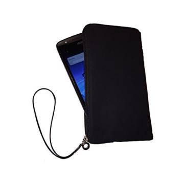 Smart Planet® Hochwertiges SoftCase XL Hülle Neopren Smartphone Universal Tasche für z.B. iPhone 8 Galaxy S7 S8 / Edge A5 A7, Note Huawei P10 / lite Wiko usw. schwarz - 3