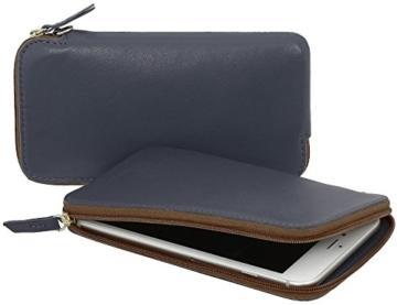StilGut Handytasche aus echtem Leder mit Reißverschluss für iPhone 7 und Smartphones bis 5