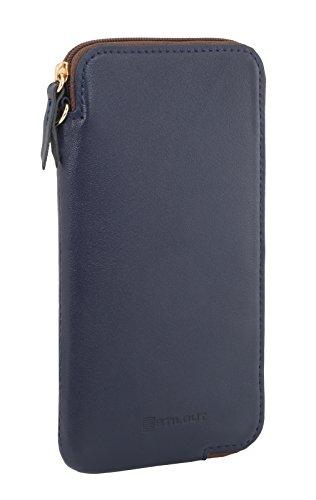"""StilGut Handytasche aus echtem Leder mit Reißverschluss für iPhone 7 und Smartphones bis 5"""", Dunkelblau Nappa - 1"""